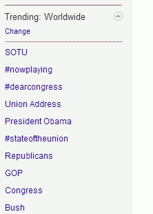 World-wide trending Twitter topics as State of the Union Address ended